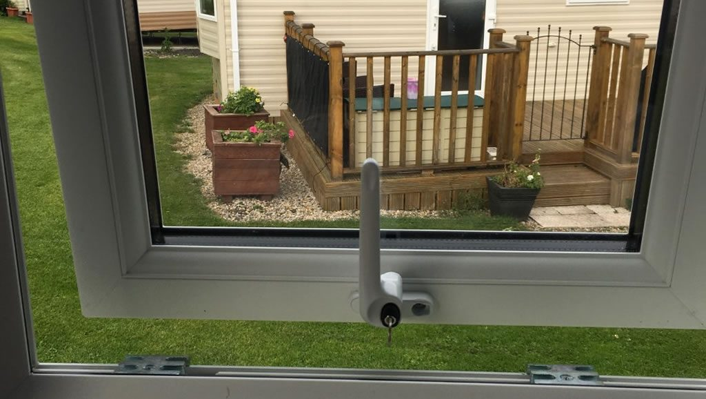after replacement caravan windows and doors Eyemouth, window latch inside close-up