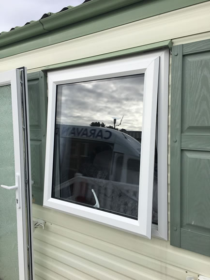 After replacement caravan windows and doors, Eyemouth, windows ouside open 1