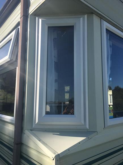 after installation replacement caravan windows double glazing external detail Greenlaw, Scotland 4