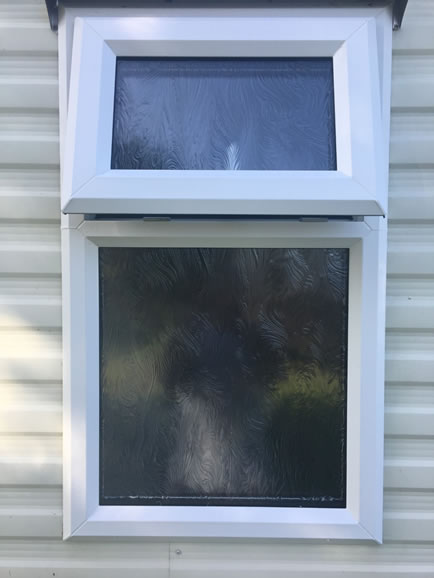 after installation replacement caravan windows double glazing external window detail Greenlaw, Scotland 1