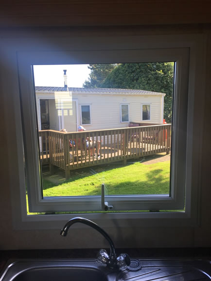 after installation replacement caravan windows double glazing internal window detail latch Greenlaw, Scotland 1
