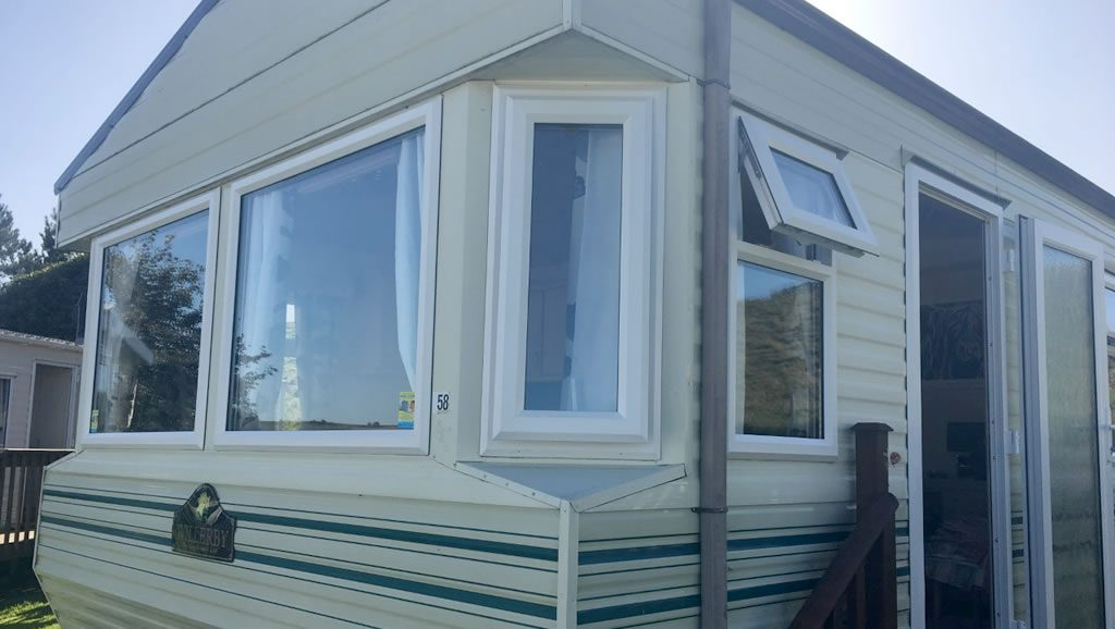 After replacement caravan windows and doors Winsford, Cheshire outside 1