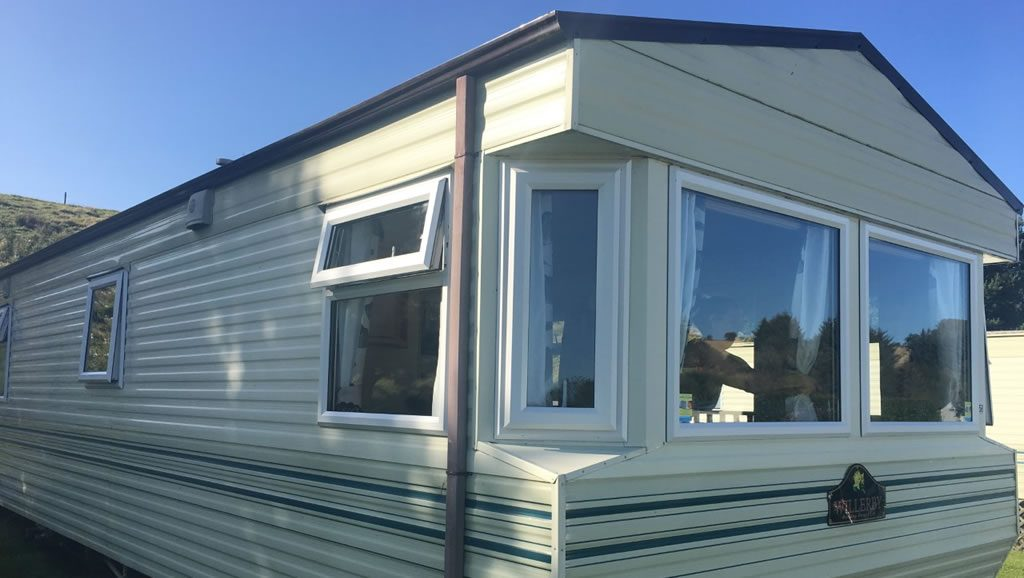 After replacement caravan windows and doors Winsford, Cheshire outside 2